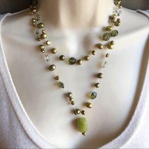 Genuine Baroque Pearl Crystals Necklace Long Green